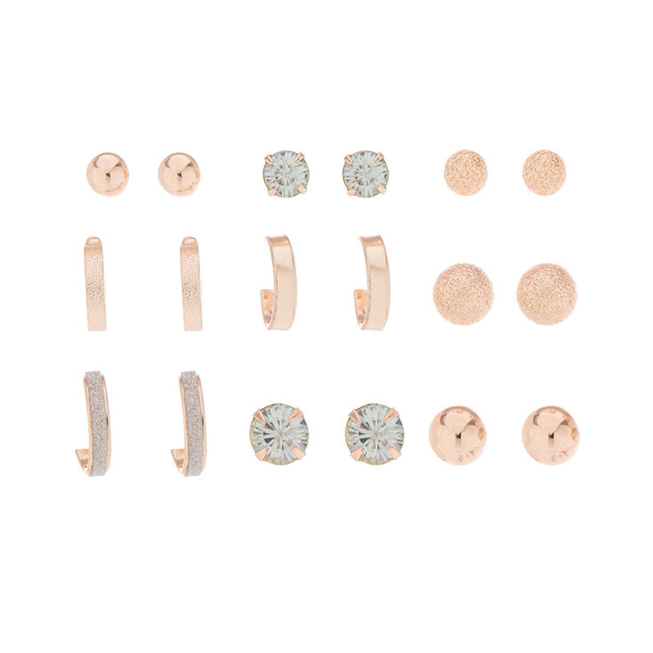 9 Pack Rose Gold-Tone Earring Set