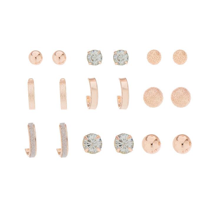 9 Pack Rose Gold-Tone Earring Set,