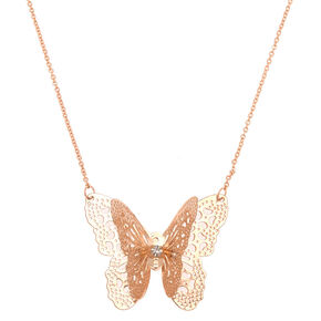Rose Gold Filigree Butterfly Long Pendant Necklace,