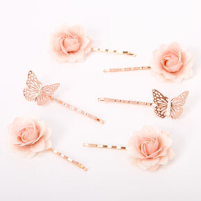 Rose Gold Butterfly Flower Hair Pins - Pink, 6 Pack,