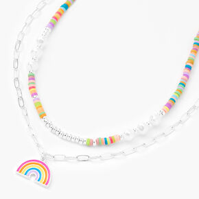 Silver Rainbow Pearl Multi Strand Pendant Necklace,