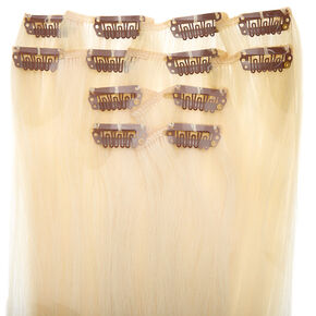 Faux Hair Clip In Extensions - Platinum Blonde, 4 Pack,