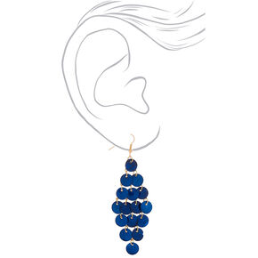 "Gold 3"" Shell Chandelier Drop Earrings - Navy,"