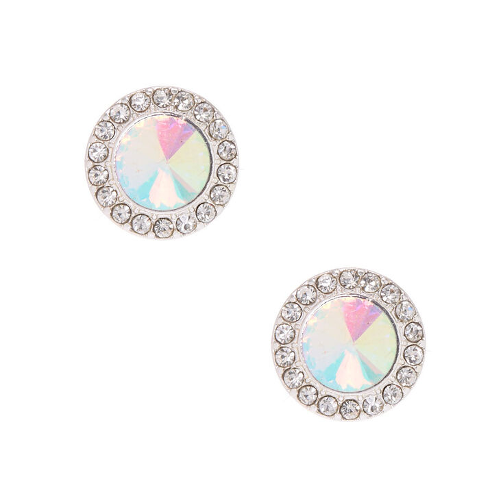 Silver-Tone Pave Halo Stud Earrings,