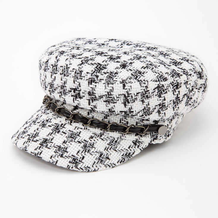 80s Hats, Caps, Visors, Buckets | Women and Men Icing Black and White Plaid Captain Hat $19.99 AT vintagedancer.com