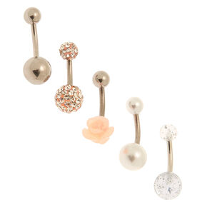 Silver 14G Flower Pearl Belly Rings - Pink, 5 Pack,