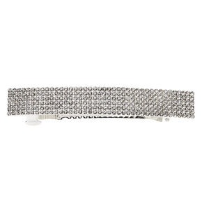 Silver Rhinestone Rectangle Hair Barrette,