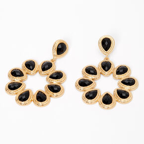 """Gold  2.5"""" Teardrop Flower Drop Earrings - Black,"""