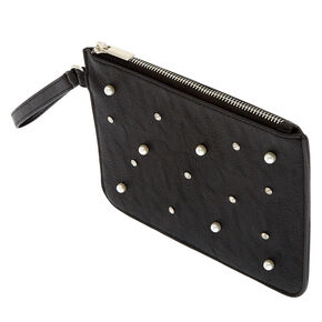 Black Pearl and Crystal Faux Leather Wristlet,