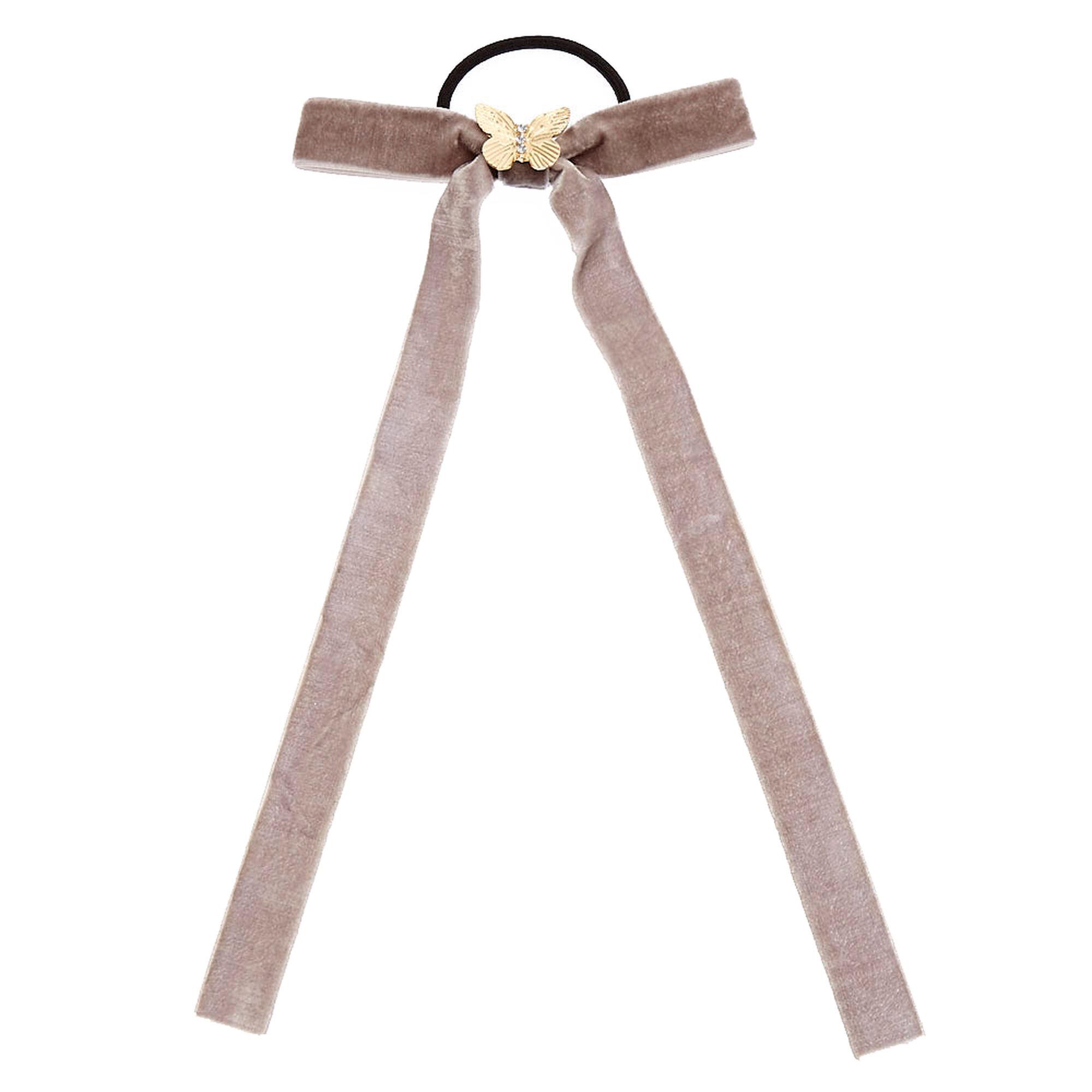 Gray Velvet Bow Hair Tie  19807b5f4a4