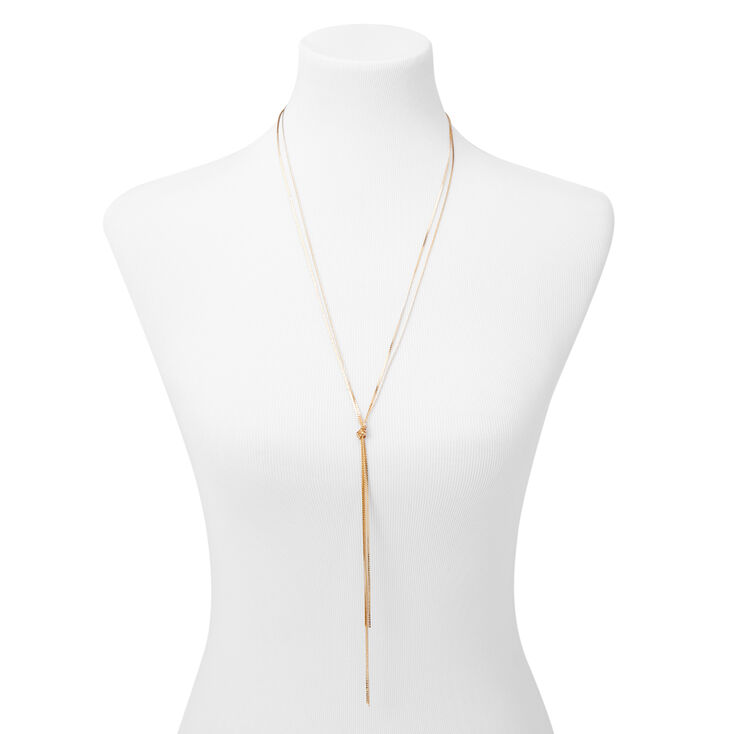 Gold Knotted Rope Long Necklace,