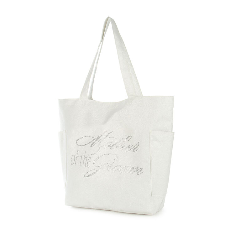 Mother of the Groom White Sparkle Tote Bag,