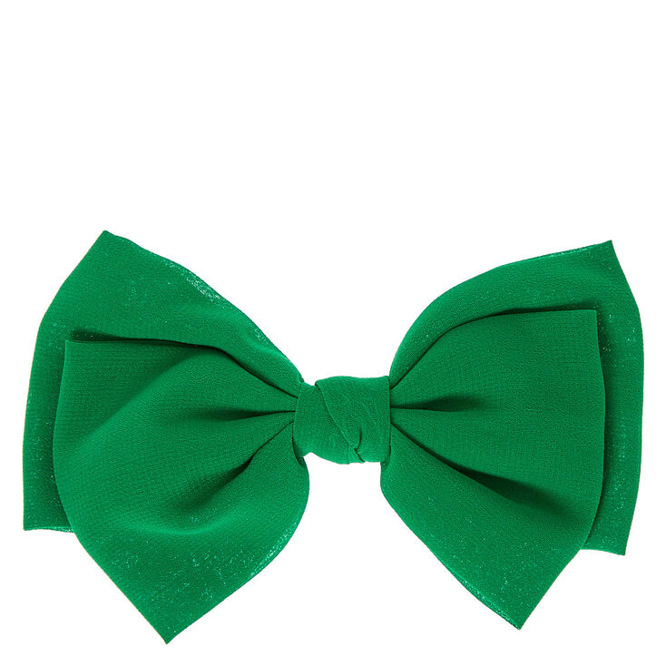 Green Chiffon Hair Bow,