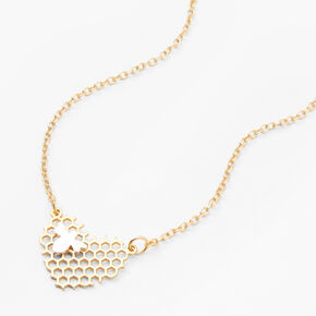Gold Honeycomb Heart Pendant Necklace,