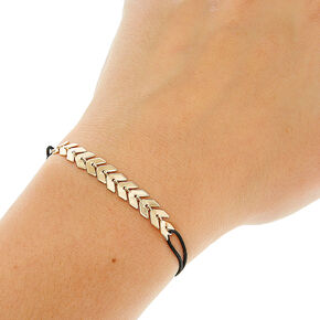 Black Double Stretch Bracelet with Chevron Arrow Charms,