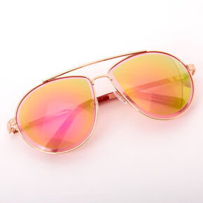 New Age Beveled Aviator Sunglasses - Pink,