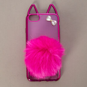 Hot Pink Cat with Pom Tail Phone Case - Fits iPhone 5/5S/SE,