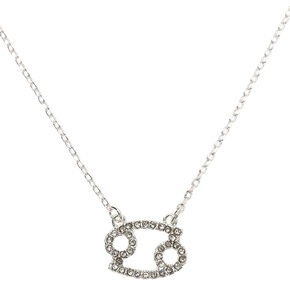 Silver Zodiac Pendant Necklace - Cancer,