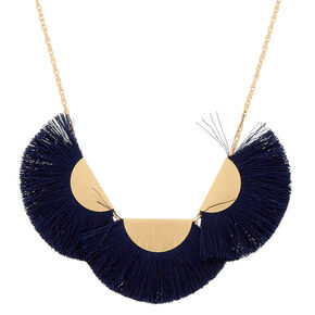Large Tassel Statement Necklace - Navy,