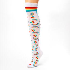 Hearts & Rainbows Over the Knee Socks,