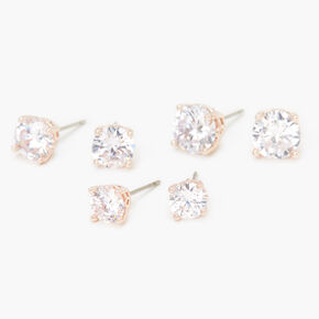 Rose Gold Cubic Zirconia Round Stud Earrings - 6MM, 7MM, 8MM,