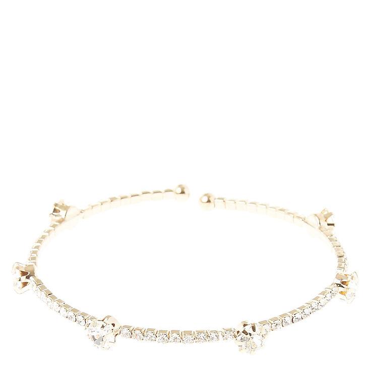 Gold Tone Clear Stone Coil Bracelet,
