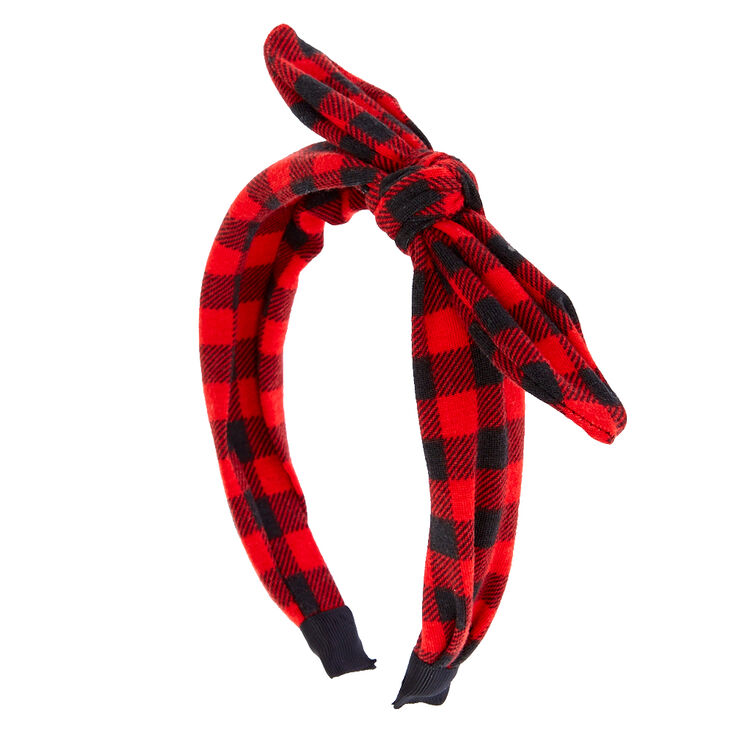 Red & Black Buffalo Check Bow Headband,