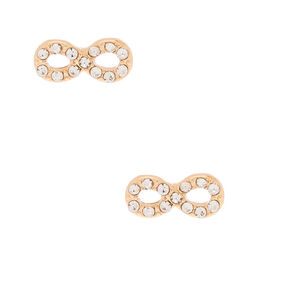 Gold Crystal Infinity Stud Earrings,