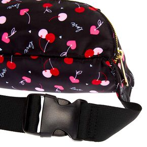 Nylon Cherry Love Fanny Pack - Black,