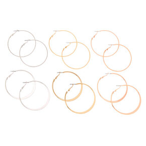 Mixed Metal 50MM Hoop Earrings - 6 Pack,
