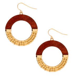 "Gold 1.5"" Wood Circle Drop Earrings,"