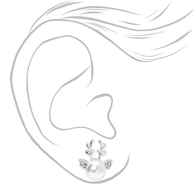 Silver Pearl Reindeer Antler Stud Earrings,