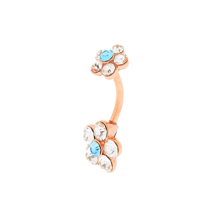 Rose Gold 14G Flower Belly Ring,