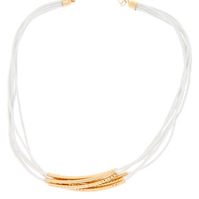 Cord Gold Accented Multi Strand Statement Necklace - White,