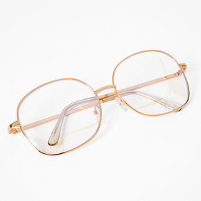 Blue Light Reducing Square Clear Lens Frames - Gold,