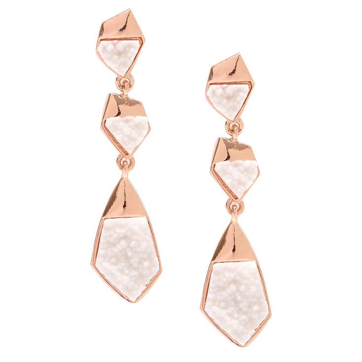 Textured White Stone Drop Earrings,