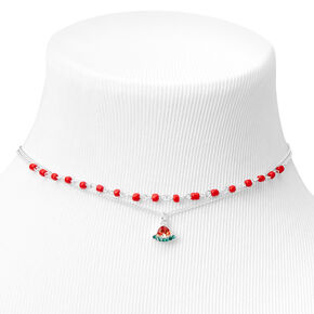 Silver Beaded Watermelon Choker Necklaces - Red, 2 Pack,