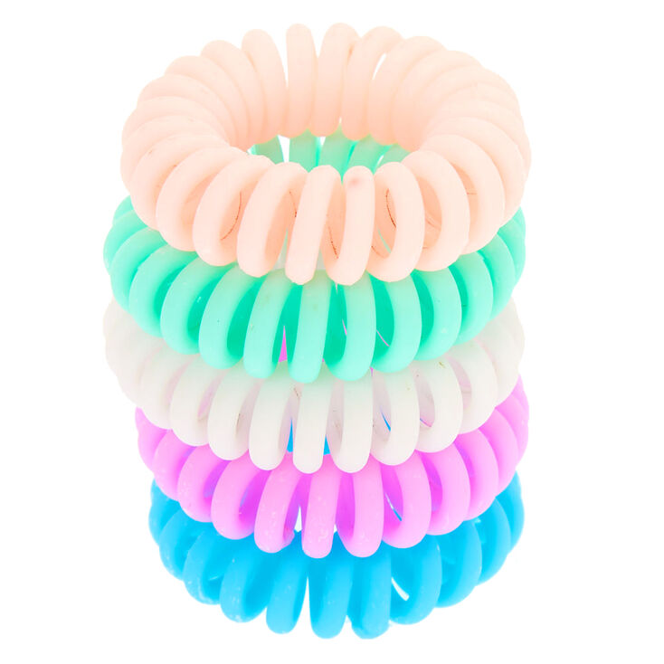 Matte Pastel Mini Spiral Hair Ties - 5 Pack,