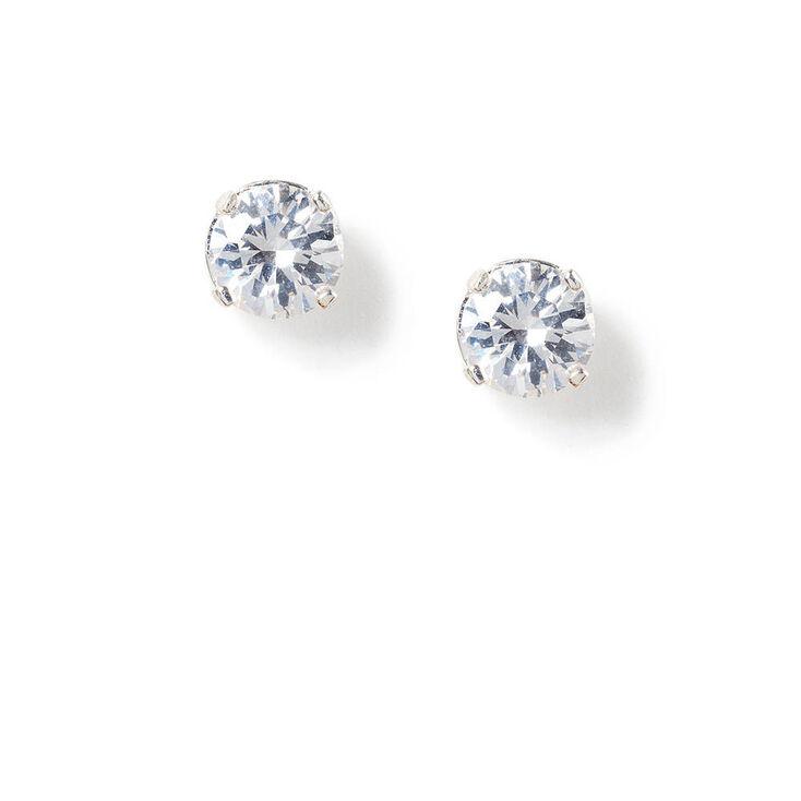 6MM Round Cubic Zirconia Love Set Stud Earrings,