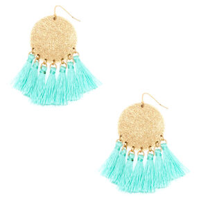 "2.5"" Disc Tassel Drop Earrings - Mint,"