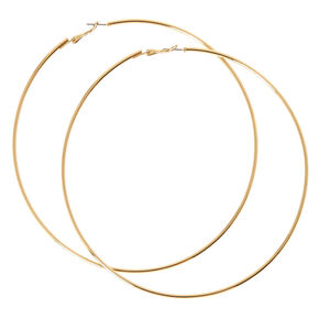 120MM Gold Tone Skinny Hoop Earrings,