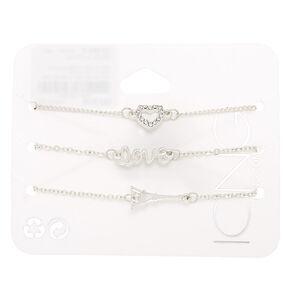 Silver Love Paris Chain Bracelets - 3 Pack,