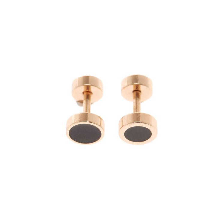 Black Rose Gold Faux Plugs,
