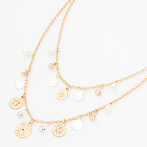 Gold & Silver Coin Pearl Multi Strand Necklace,