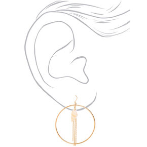 "Gold 2"" Seashell Circle Drop Earrings,"