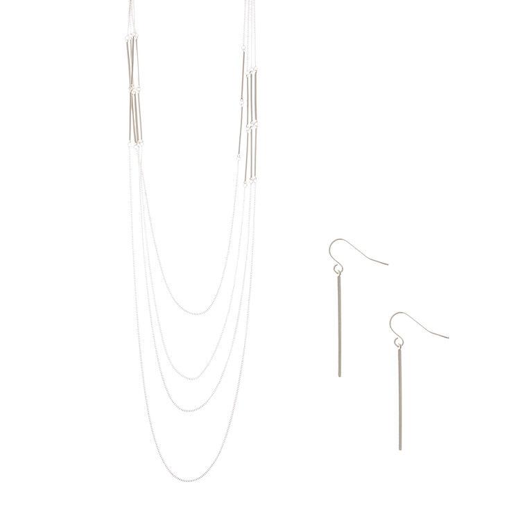 Silver Bar Multi Strand Necklace & Drop Earrings Set,