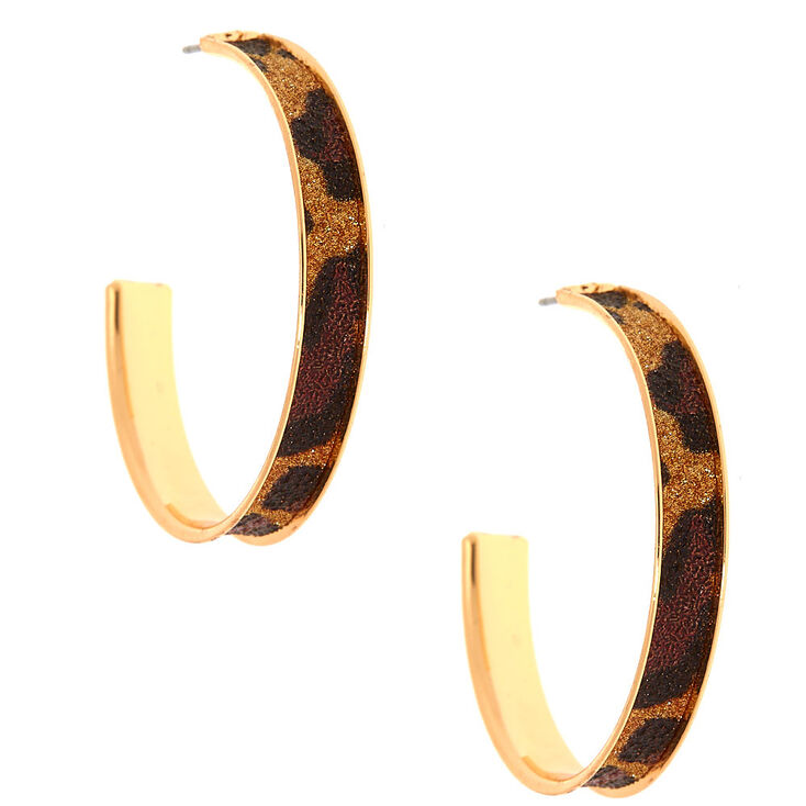 Gold 40MM Glitter Leopard Hoop Earrings,