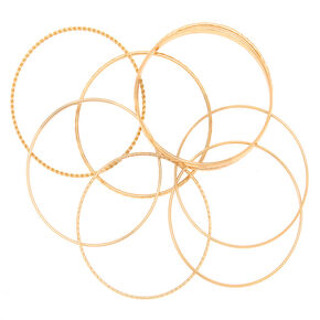 Gold Textured Bangle Bracelets - 8 Pack,