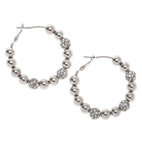 Silver 50MM Fireball Hoop Earrings,