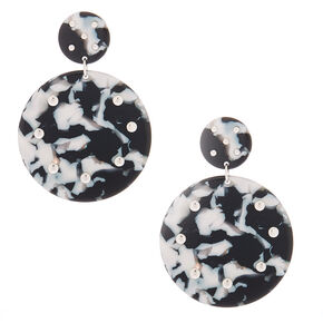 "2"" Black & White Resin Circle Drop Earrings,"